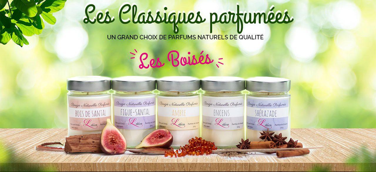 Les bougies classiques parfumées Les Boisés