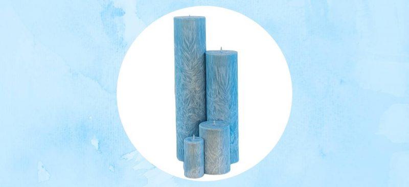 bougies cylindriques bleu