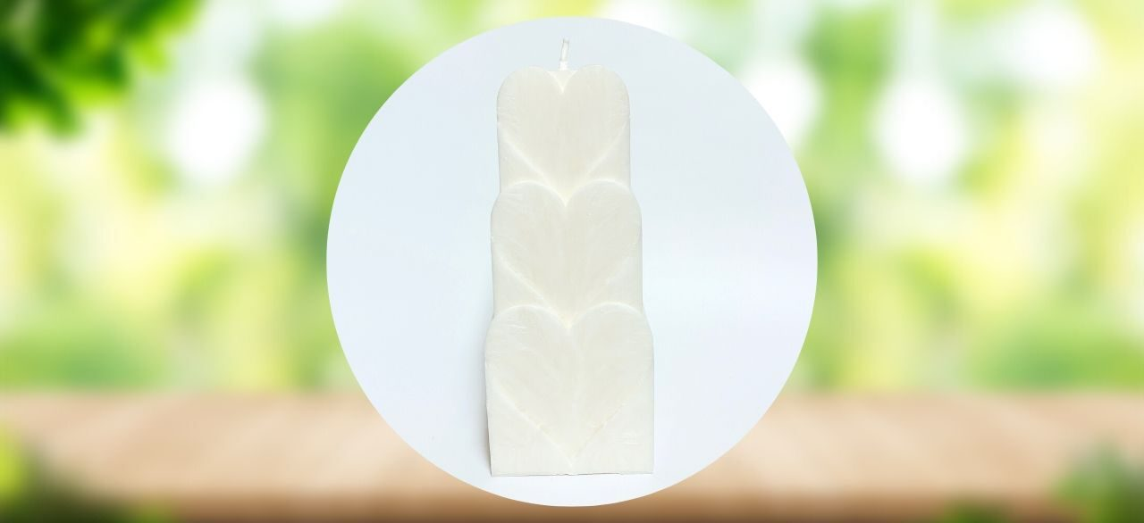 Bougie romantique coeur blanc