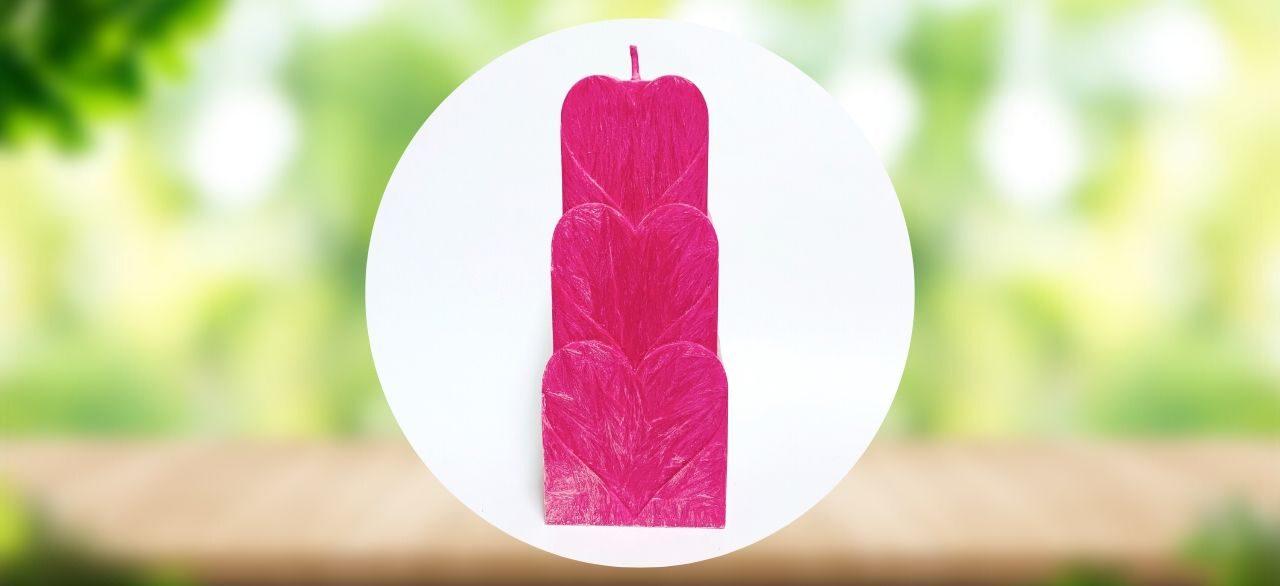 bougie romantique coeur rose