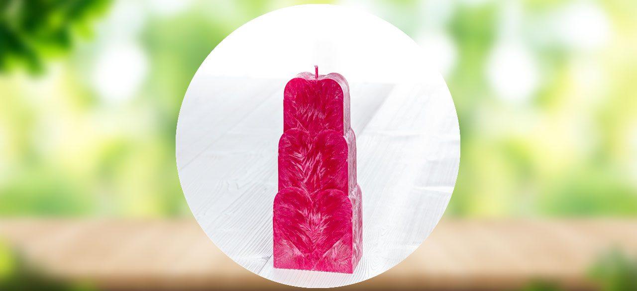 bougie coeur rose