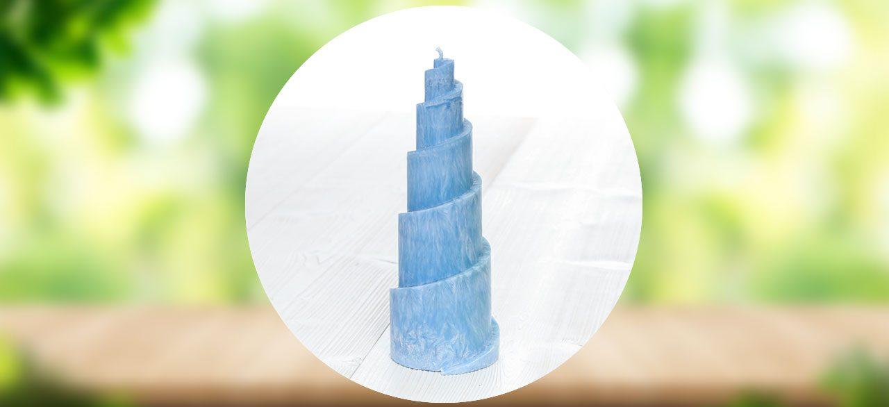 bougie spirale bleu